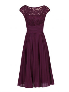 Jolie Moi Lace Bodice Pleated Dress, Burgundy