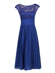 Jolie Moi Lace Bodice Pleated Bridesmaid Dress, Royal Blue-Jolie Moi