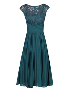Jolie Moi Lace Bodice Pleated Dress, Dark Teal
