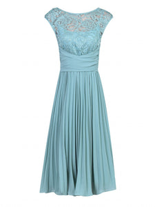 Jolie Moi Lace Bodice Pleated Dress, Duck Egg Blue