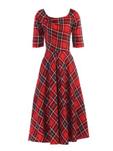 Load image into Gallery viewer, Jolie Moi Check Print Swing Dress, Red Check