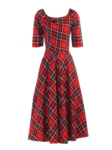Jolie Moi Check Print Swing Dress, Red Check