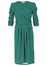 Load image into Gallery viewer, Jolie Moi Print Wrap Midi Dress, Green Pattern