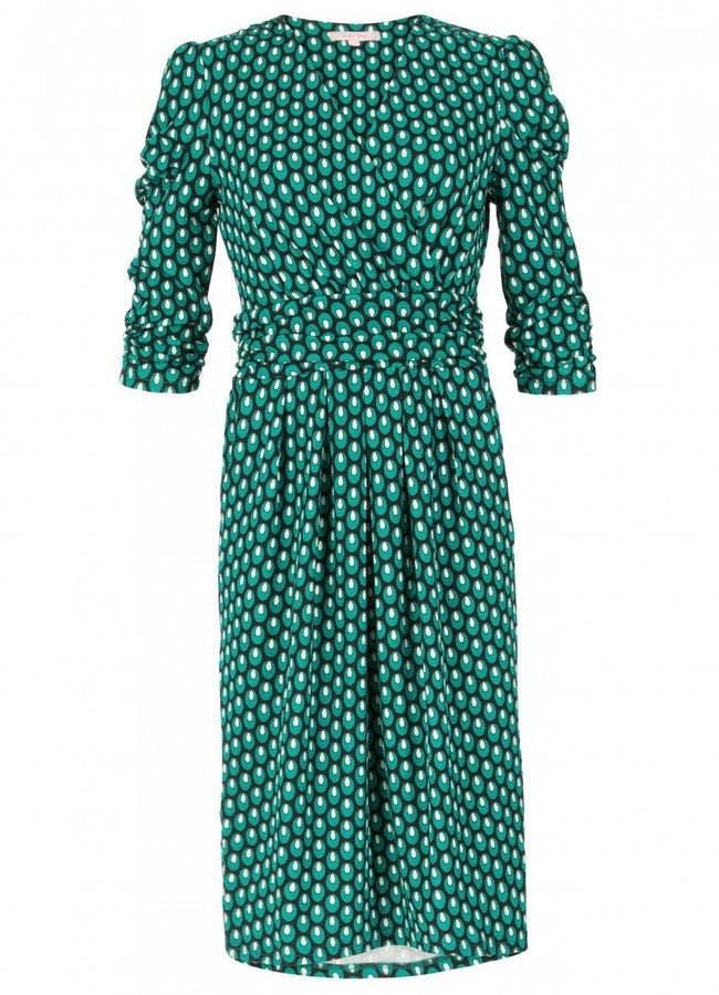 Jolie Moi Print Wrap Midi Dress, Green Pattern