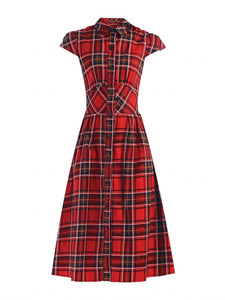 Jolie Moi Checked Shirt Dress, Red Check