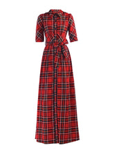 Load image into Gallery viewer, Jolie Moi Checked Maxi Shirt Dress, Red Check