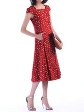 Load image into Gallery viewer, Jolie Moi Button Front Dress, Red Pattern