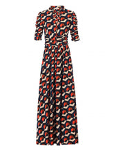 Load image into Gallery viewer, Jolie Moi Tie Collar Maxi Dress, Navy Geo