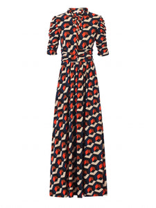 Jolie Moi Tie Collar Maxi Dress, Navy Geo