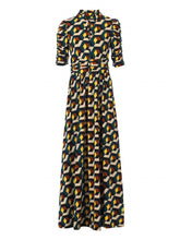 Load image into Gallery viewer, Jolie Moi Tie Collar Maxi Dress, Teal Geo