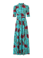 Load image into Gallery viewer, Jolie Moi Tie Collar Maxi Dress, Teal Floral