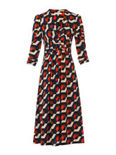 Load image into Gallery viewer, Jolie Moi Twisted Knot Dress, Navy Geo