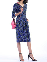 Load image into Gallery viewer, Jolie Moi - Blue wrap front midi dress, Blue Pattern