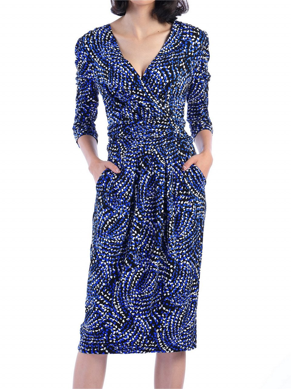 Jolie Moi - Blue wrap front midi dress, Blue Pattern