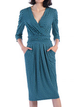 Load image into Gallery viewer, Jolie Moi Print Wrap Midi Dress, Blue Geo