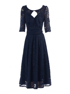 Jolie Moi Fit And Flare Lace Midi Bridesmaid Dress, Navy-Jolie Moi