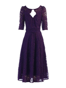 Jolie Moi Fit And Flare Lace Midi Bridesmaid Dress, Dark Purple-Jolie Moi