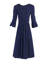 Load image into Gallery viewer, Jolie Moi Roll Collar Shift Dress, Navy Geo