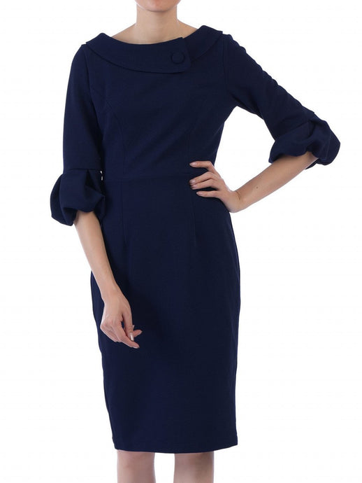 Jolie Moi Bell Sleeve Collar Dress, Navy