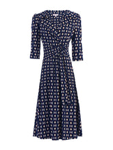Load image into Gallery viewer, Vintage Cross Front Tea Dress, Navy Geo