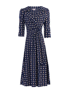 Vintage Cross Front Tea Dress, Navy Geo