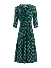 Load image into Gallery viewer, Jolie Moi Vintage Cross Front Tea Dress, Green Geo