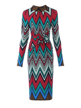 Load image into Gallery viewer, Jolie Moi Twist Body Con Dress, Red/Multi