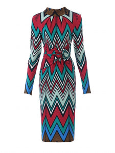 Jolie Moi Twist Body Con Dress, Red Multi