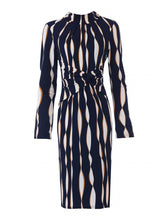 Load image into Gallery viewer, Jolie Moi Twist Body Con Dress, Navy Wave