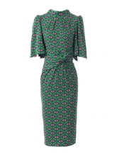 Load image into Gallery viewer, Jolie Moi Geometric Print High Neck Midi Dress, Green Geo