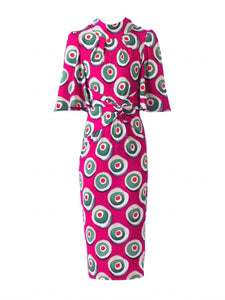 Jolie Moi Abstract Print High Neck Midi Dress, Pink Pattern