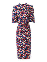 Load image into Gallery viewer, Jolie Moi Diamond Print High Neck Midi Dress, Royal Multi