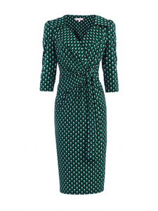 Jolie Moi Vintage Cross Front Dress, Green Geo