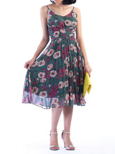Load image into Gallery viewer, Jolie Moi Strappy Floral Pleated Dress, Teal Floral