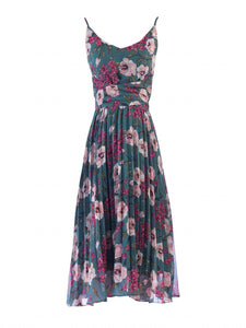 Jolie Moi Strappy Floral Pleated Dress, Teal Floral