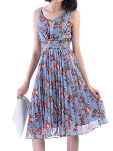 Jolie Moi Strappy Floral Pleated Dress, Aqua Floral