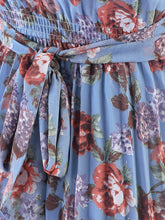 Load image into Gallery viewer, Jolie Moi Strappy Floral Pleated Dress, Aqua Floral
