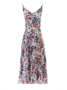 Jolie Moi Strappy Floral Pleated Dress, White Floral