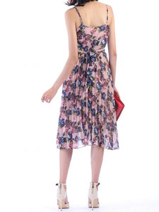 Jolie Moi Strappy Floral Pleated Dress, Pink Floral