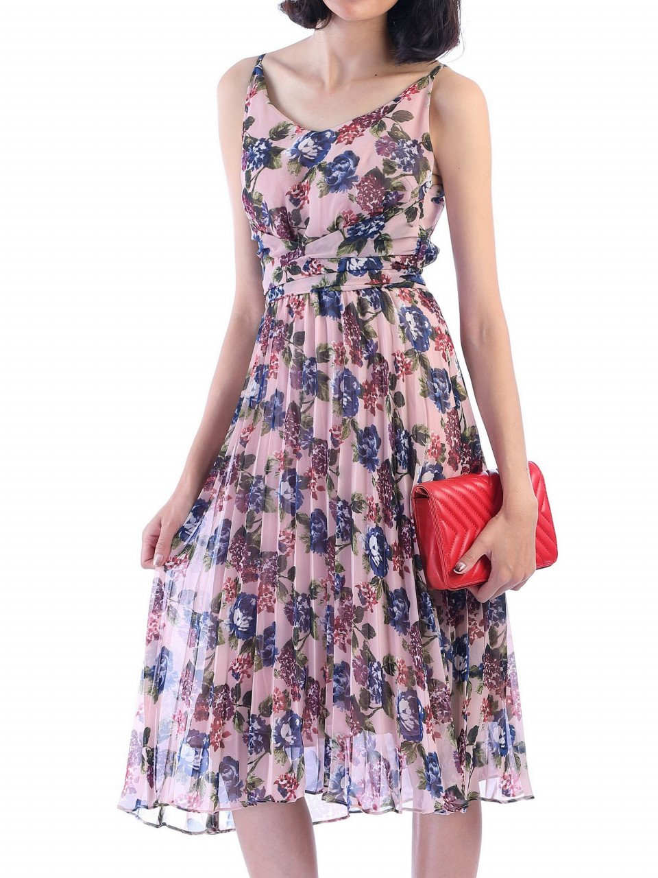 Jolie Moi Strappy Floral Pleated Summer Dress, Pink Floral