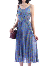 Load image into Gallery viewer, Jolie Moi Strappy Berry Print Pleated Dress, Blue Floral