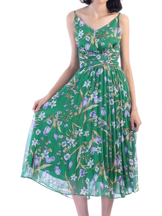 Jolie Moi Strappy Berry Print Pleated Dress, Green Floral