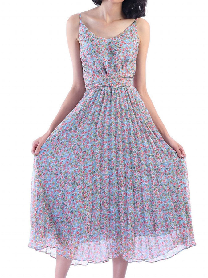 Jolie Moi Strappy Small Floral Print Pleated Dress, Aqua Floral