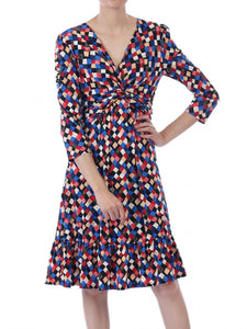 Retro Geometric Flare Hem Dress