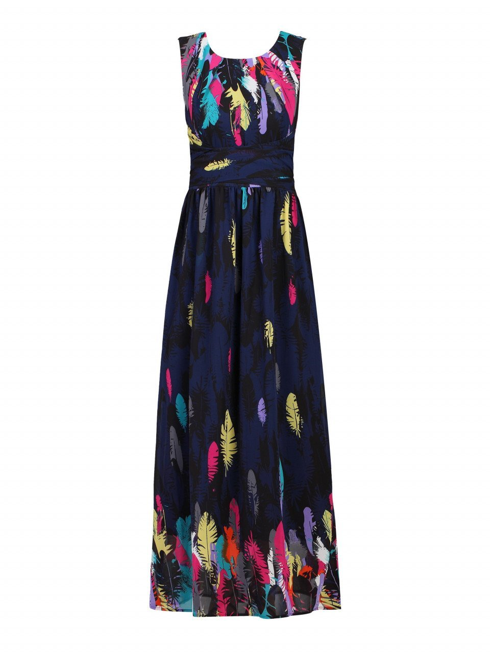 Feather Belted Maxi Dress