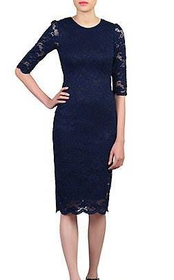 Jolie Moi Navy Lace Bodycon Dress