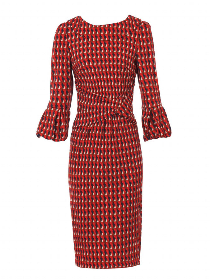 Jolie Moi Bell Sleeve Pencil Dress, Red Geo