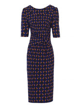 Load image into Gallery viewer, Jolie Moi Geometric Print Pencil Dress, Royal/Multi