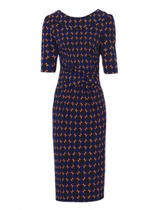Jolie Moi Geometric Print Pencil Dress, Royal/Multi