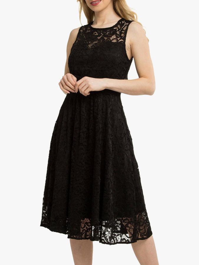 Jolie Moi Fit & Flare Lace Prom Bridesmaid Dress, Black-Jolie Moi